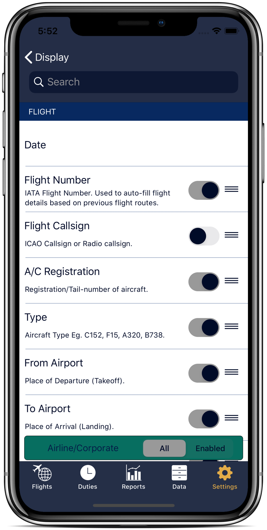 Log your flights how you want with flight page customization.