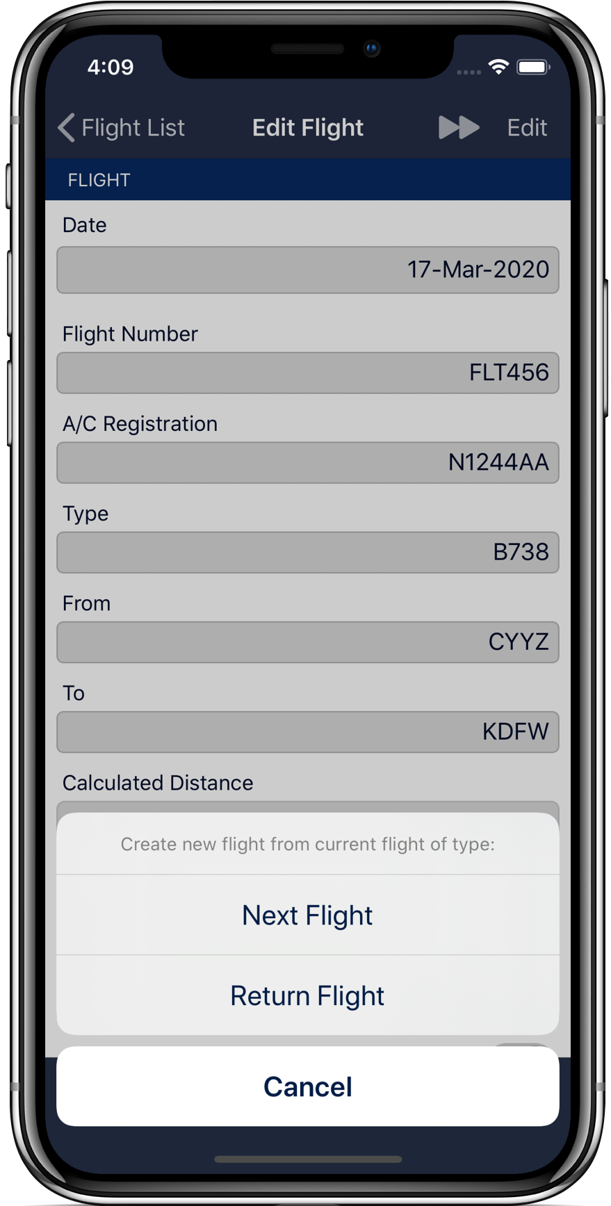 Next flight and return flight feature to pre-fill your next flight